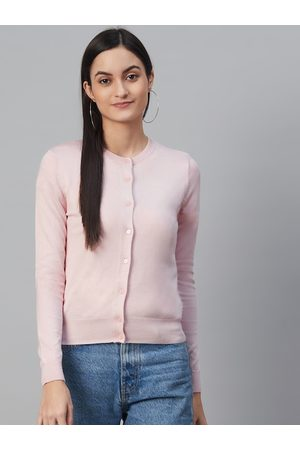 Marks & Spencer Women Pink Solid Cardigan Sweater