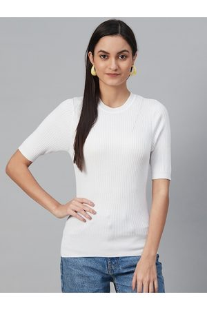 Marks & Spencer Women White Ribbed Winter Fitted Top