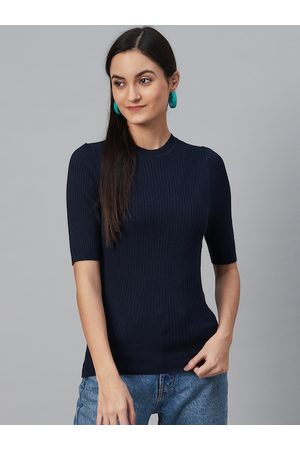 Marks & Spencer Women Navy Blue Ribbed Winter Fitted Top
