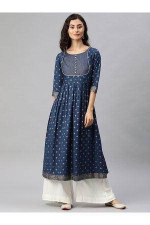 Alena Women Navy Blue & Gold-Toned Foil Printed A-Line Kurta