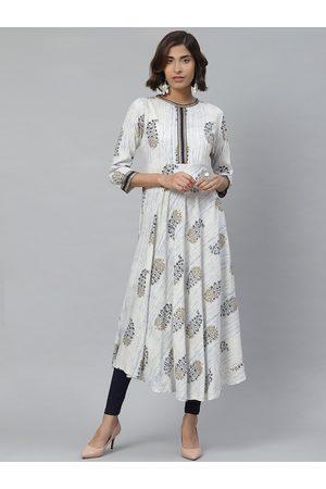 Yash Gallery Women Off-White & Navy Blue Printed Anarkali Kurta