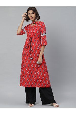 Yash Gallery Women Red & Grey Printed A-Line Kurta