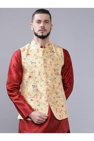 The Indian Garage Co Men Yellow & Pink Printed Nehru Jacket