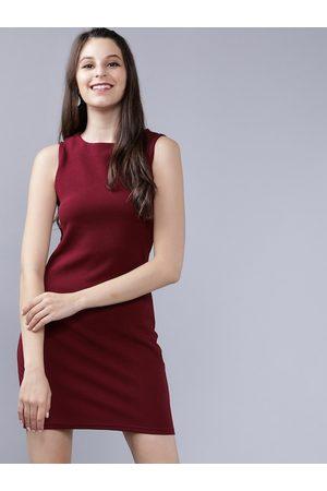 Tokyo Talkies Women Maroon Solid Sheath Dress