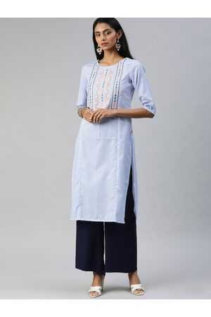 Alena Women Blue Embroidered Sequinned Straight Kurta