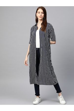 Yash Gallery Women Navy Blue & White Striped Open Front Longline Shrug