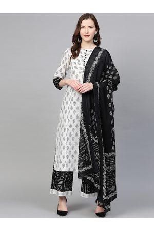Yash Gallery Women White & Black Printed Kurta Set with Dupatta