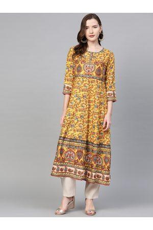 Yash Gallery Women Mustard & Maroon Printed Anarkali Kurta