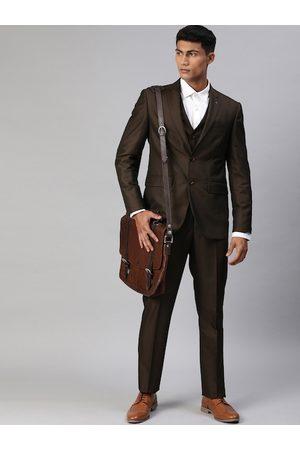 Louis Philippe Men Brown Self Design Slim Fit Single Breasted 3 Piece Formal Suit