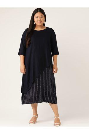 Revolution Women Plus Size Navy Blue Striped Layered A-Line Dress