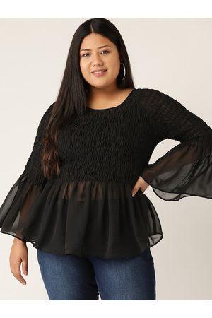 Revolution Women Tops - Women Black Plus Size Smocked Sheer Peplum Top
