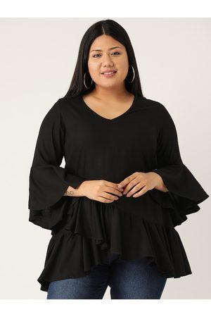 Revolution Women Black Plus Size Solid Layered Top