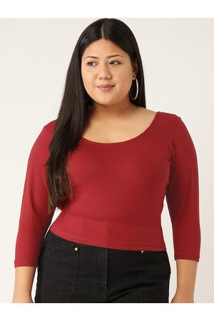Revolution Women Plus Size Maroon Solid Crop Fitted Top