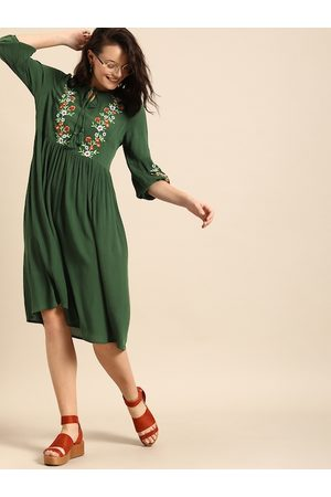 DressBerry Women Olive Green Floral Embroidered A-Line Dress