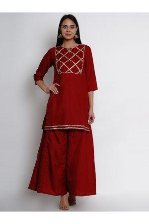 Bhama Couture Women Maroon & Gold-Coloured Yoke Design Kurta with Palazzos