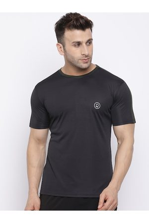 CHKOKKO Men Black Solid Dri-FIT Round Neck T-shirt