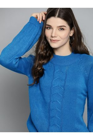 Mast & Harbour Women Blue Cable Knit Pullover Sweater