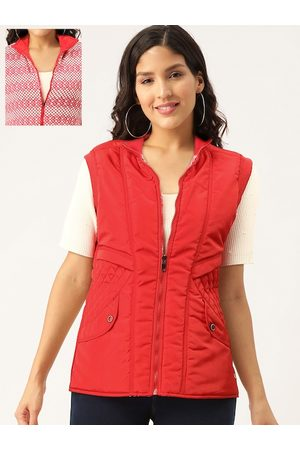 Monte Carlo Women Red & White Solid Reversible Padded Jacket