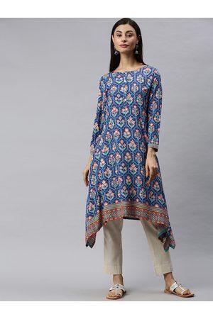 Global Desi Women Blue Printed A-Line Kurta