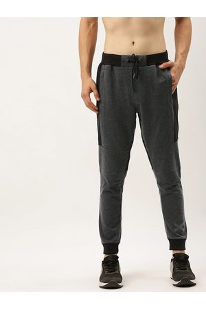 Flying Machine Men Charcoal Grey & Black Straight Fit Colourblocked Joggers