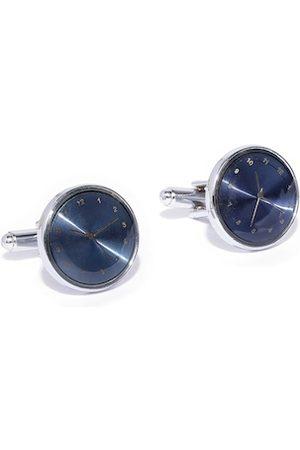 YouBella Men Cufflinks - Navy Blue & Gold-Toned Silver-Plated Clock Shaped Cufflinks