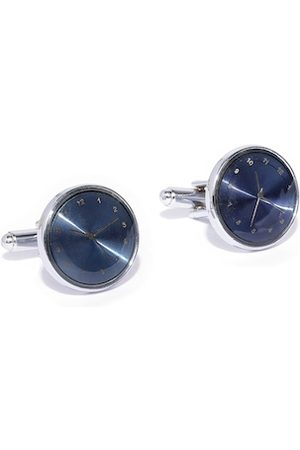 YouBella Navy Blue & Gold-Toned Silver-Plated Clock Shaped Cufflinks