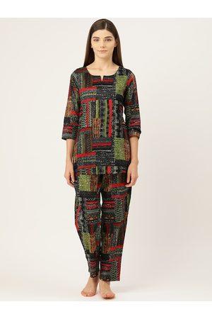 Prakrti Women Black, Red & Green Abstract Printed Cotton Night suit set