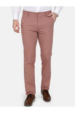 Monte Carlo Men Pink Slim Fit Solid Chinos