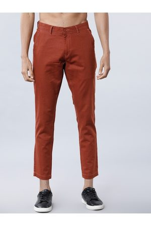 Highlander Men Rust Red Slim Fit Solid Chinos