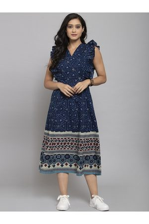 Get Glamr Women Navy Blue Printed Fit and Flare Dress