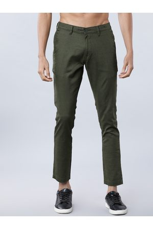 Highlander Men Olive Green Slim Fit Solid Cropped Chinos