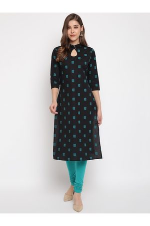 Janasya Women Black & Green Printed Straight Kurta