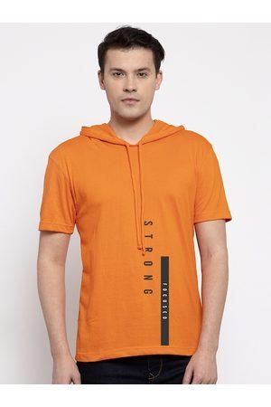 Friskers Men Short Sleeve - Men Orange Printed Hood T-shirt