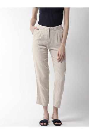Marks & Spencer Women Beige Tapered Fit Solid Cropped Trousers