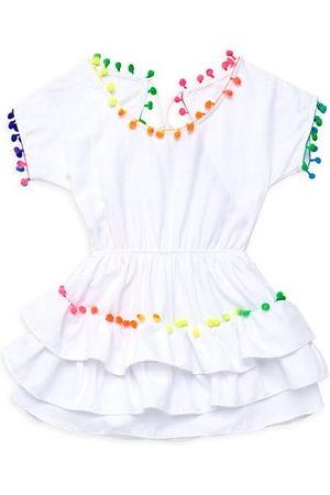 LITTLE PEIXOTO Little Girl's & Girl's Rainbow Pompom-Trim Cover-Up Dress