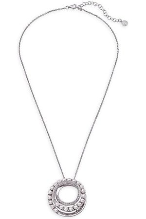 Majorica Men Necklaces - Sterling & 4MM White Organic Man-Made Pearl Big Circle Pendant Necklace