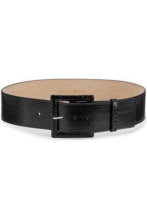 Carolina Herrera Belts - Square-Buckle Snakeskin & Leather Belt