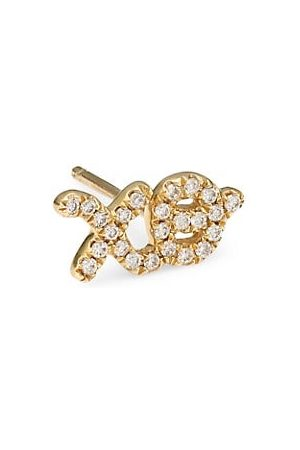 Sydney Evan XO Diamond & 14K Yellow Single Stud Earring