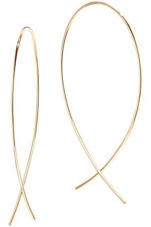 Lana Men Earrings - 14K Yellow Gold Small Wire Upside Down Hoops