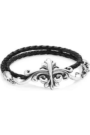 King Baby Studio Men Necklaces - Armor Sterling & Leather Double Wrap Bracelet