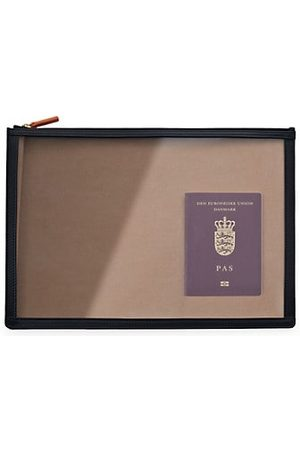 Stow See-View Leather-Trim Clear Folio