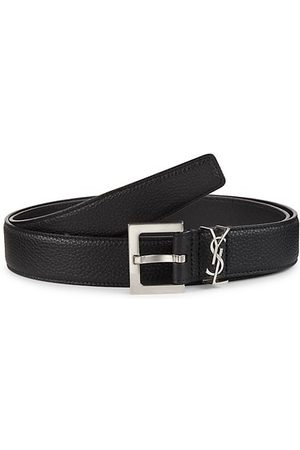 Saint Laurent Men Belts - YSL Monogram Leather Belt