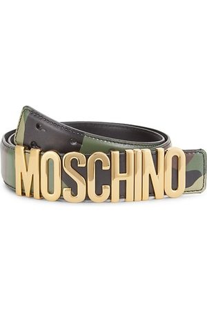 Moschino Camo Logo Buckle Leather Belt