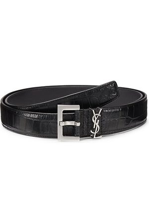 Saint Laurent Men Belts - Insignia Crocodile-Embossed Leather Belt