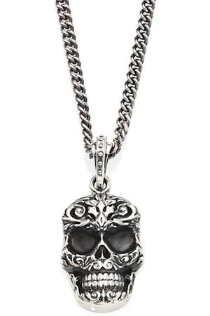 King Baby Studio Sterling Carved Baroque Skull Pendant Necklace