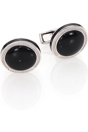 Tateossian Round Sterling & OnyxCuff Links