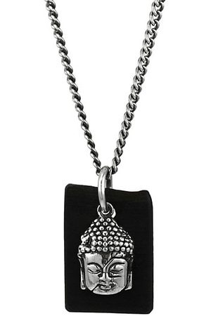King Baby Studio Men Necklaces - Sterling & Leather Meditating Buddha Pendant Necklace