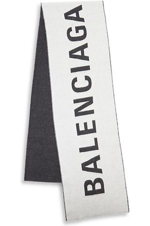 Balenciaga Macro Logo Jacquard Wool Scarf