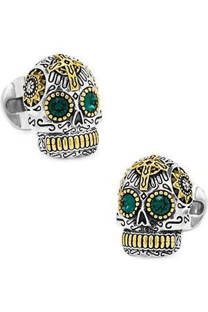 Cufflinks, Inc. Men Cufflinks - Sterling and Gold Tone Day of the Dead Skull Cufflinks