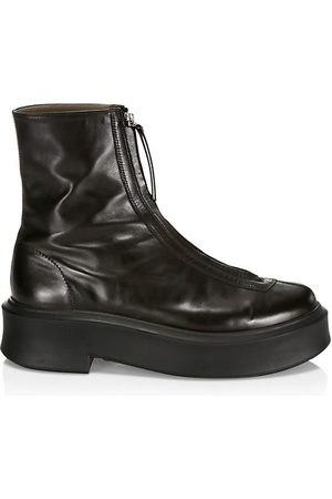 The Row Zippered Platform Leather Combat Boots